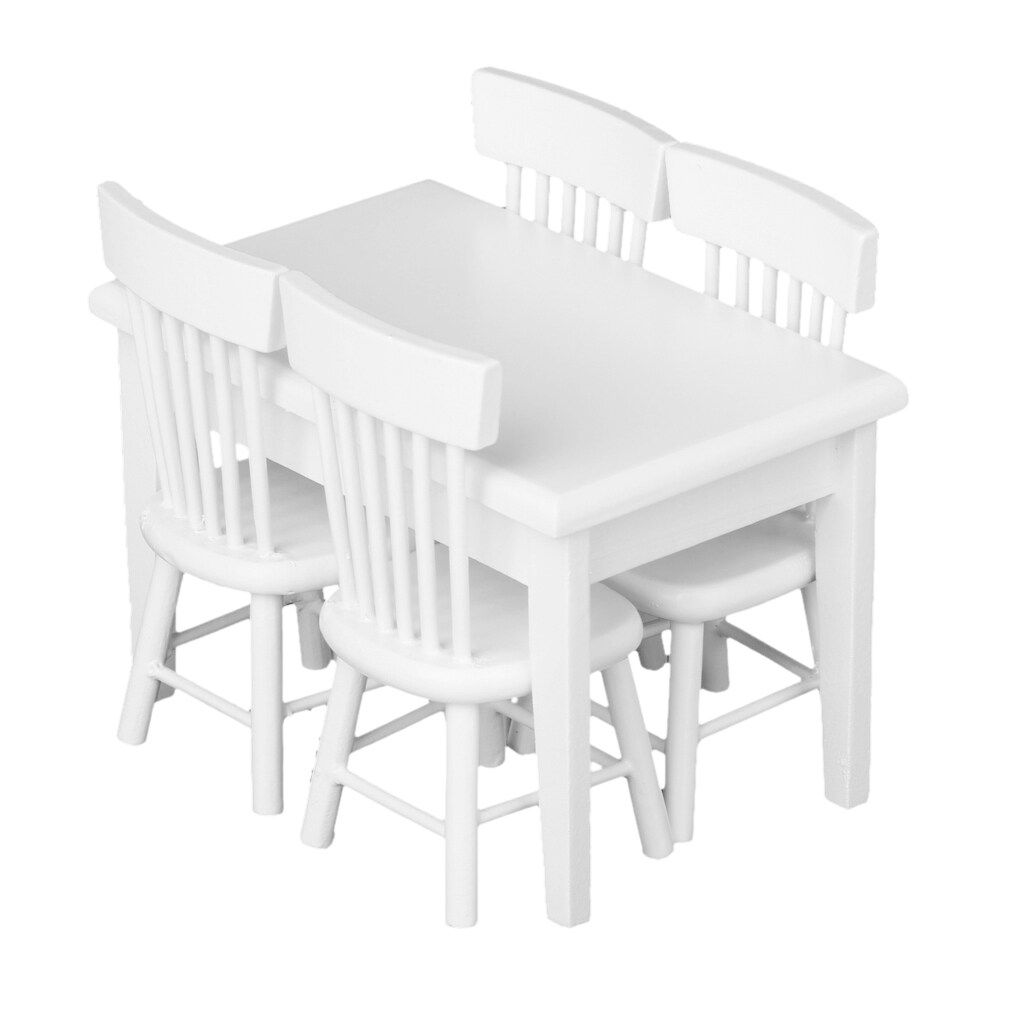 Kursi Meja Meja Meja Set Miniatur Furniture Putih 5 Pcs-Internasional