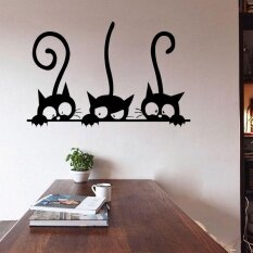 Diy Three Cats Wall Stickers Removable Living Room Decor Art Vinyl Mural Decals By Funny Face.