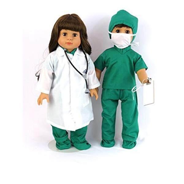 Dokter atau Perawat 7 PC Set 18 Inci Pakaian Boneka Lengkap dengan Boneka Putih Jas Lab Face Masker, medis Hijau Pelindung Sepatu Topi, Stetoskop, dan Scrub-Intl