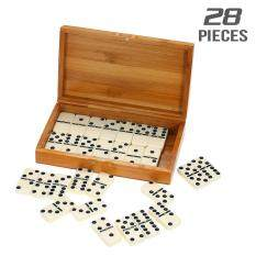 Double Six Dominoes Set Entertainment Recreational Travel Game Toy Black Dots Dominoes By Tomtop.