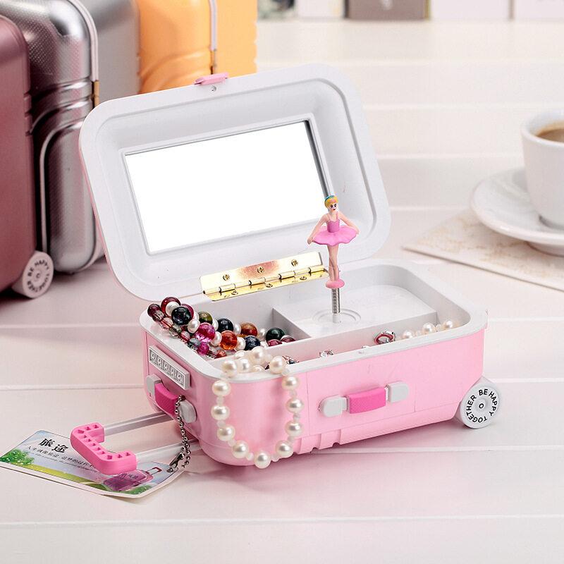 Kotak Impian Anak Gadis Musik Perhiasan Kotak Musik Persegi Panjang dengan Pink Ballerina Alice untuk Elise