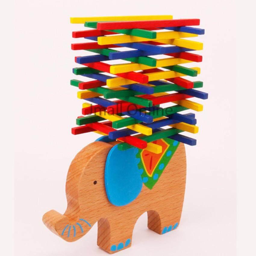 Elephant Balancing Beam Blocks Wooden Toys Stacking Blocks Bar Game Building