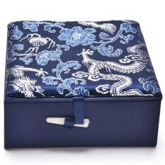 เย็บปักถักร้อยกล่องเก็บเครื่องประดับมังกรจีนแบบดั้งเดิม Vintage กล่องจานสี Navy.
