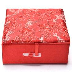 Embroidery Jewelry Box Traditional Chinese Dragon Pattern Palette Box Red.