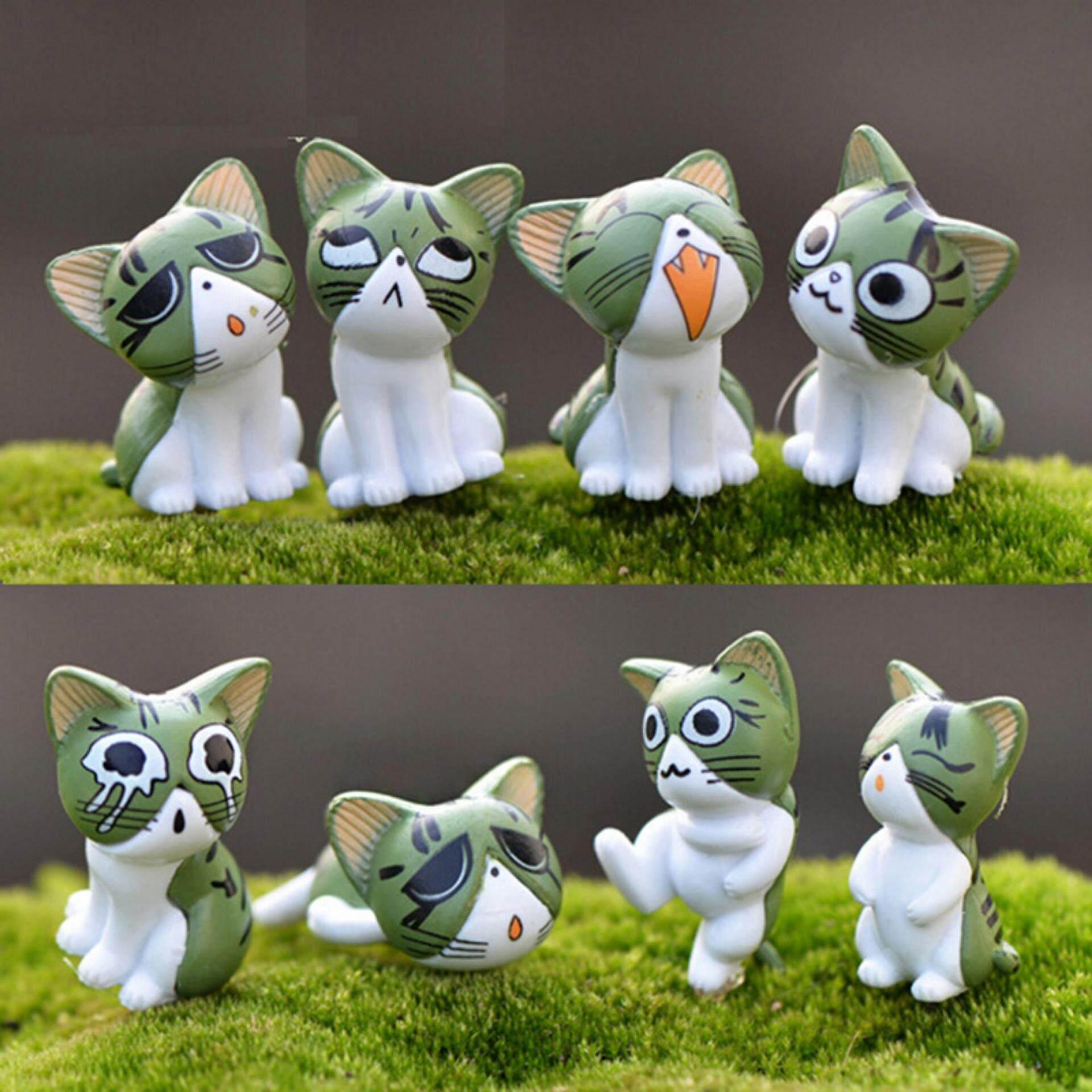 Fashion 8 Pcs Kawaii Keju Kucing Kitty Patung Miniatur Resin Kucing Figurin Kucing Mini Patung Taman