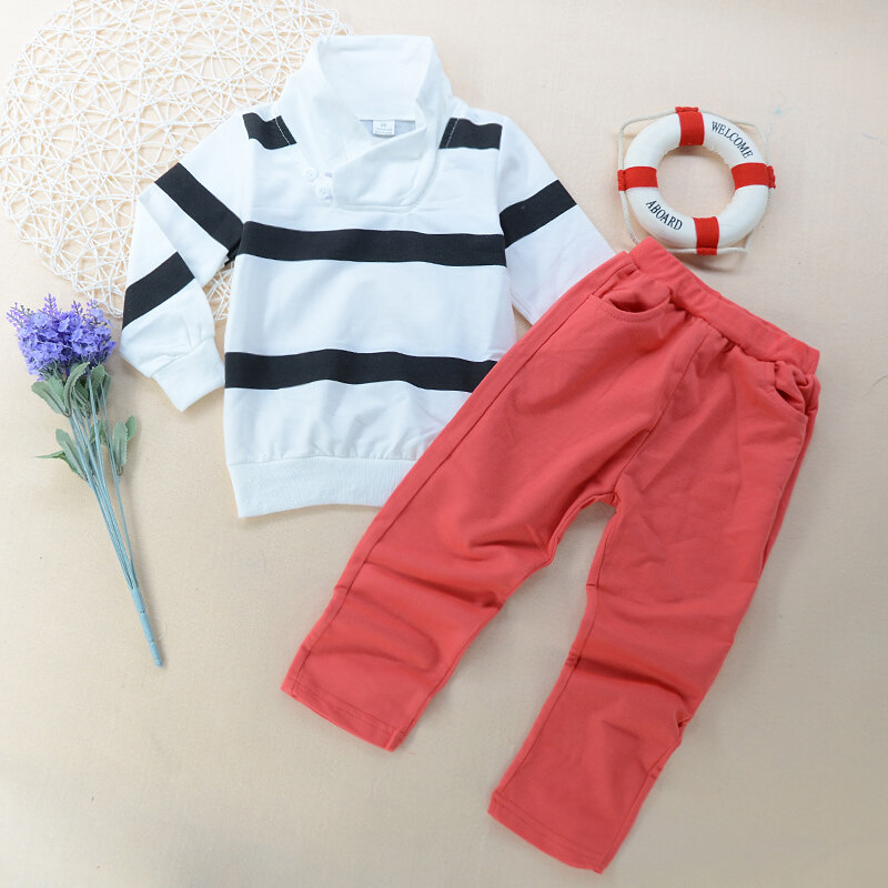 Tide pioneerFashion Cotton Striped Polo Shirt+Red Pants Clothing Sets Children Boys Casual Outfits Suits - intl