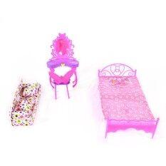 Fashion Cute Barbie Princess Girl Dolls House Bedroom Furniture Toy Set Dresser+Sofa+Bed