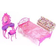 SE Fashion Cute Princess Girl Dolls House Bedroom Furniture Toy Set  Dresser+Sofa+Bed