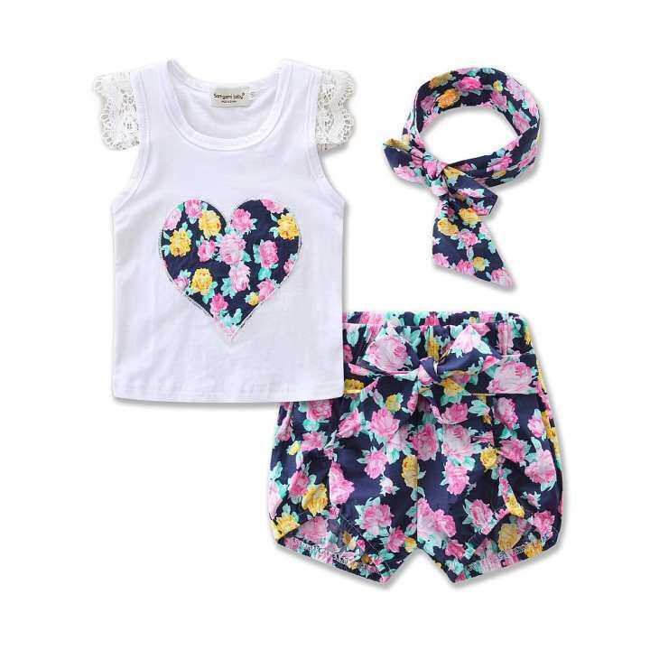 Fashion Sleeveless Summer Style Girls Lace Shirt Kids Floral Print Shorts Headband 3pcs Suit