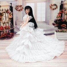 Fashion Pesta Pernikahan Malam Hari Gaun Trailing Gaun untuk Boneka Barbie Boneka Warna: Putih Tinggi: 24 Cm