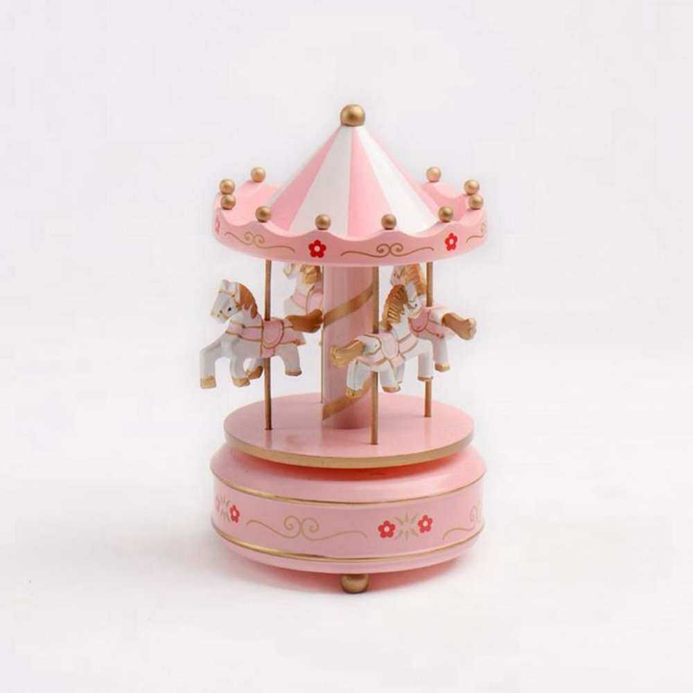 Festival Gift New Style Led Lamp Rotation Wooden Carousel Box Lighted Musical By Aajqcqwf.