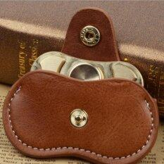 Fidget Hand Spinner Triangle Finger Toy Fingertip Gyro Genuine Leather Case Good Bag Without Fingertip Gyro, Size: 9 X 5cm(brown).