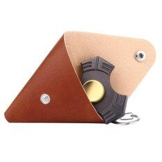 Fidget Hand Spinner Triangle Finger Toy Fingertip Gyro Triangle Genuine Leather Case Good Bag Without Fingertip Gyro, Size: 9 X 9cm(brown).