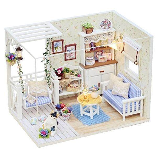 Flever Dollhouse Miniature DIY House Kit Creative Room With Furniture and Cover for Romantic Valentines Gift (Kitty Diary) - intl