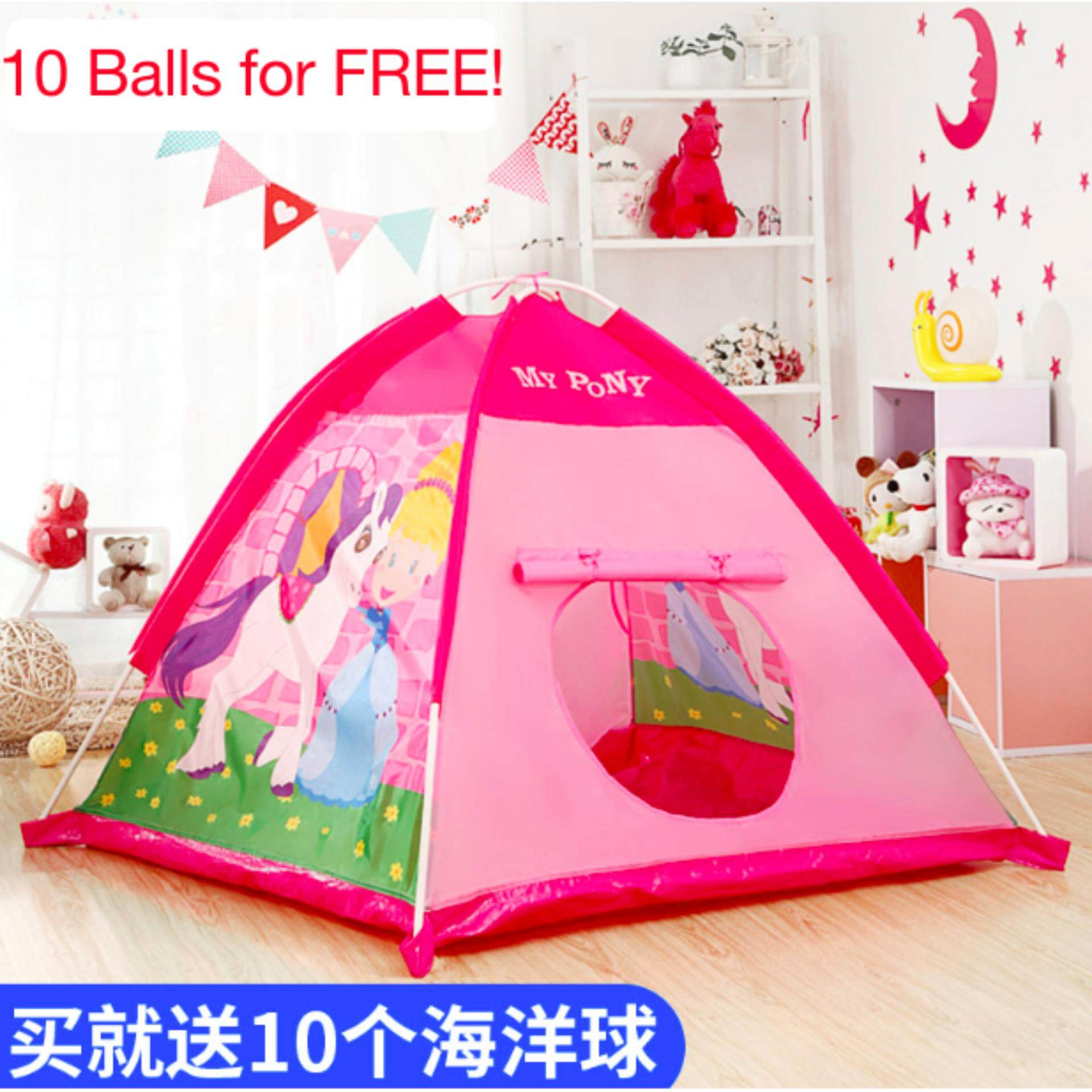 Foldable Pink Play Tent Outdoor Toys And Games Kids Playhouse Balls Pool (pink) (pink) By Your Warehouse.