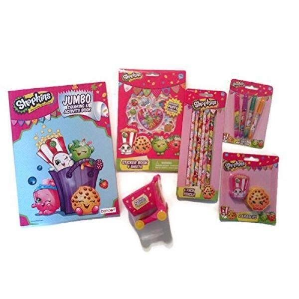 FUN SHOPKINS Creative Activity GIFT SET For Girls With Coloring Book Pens Pencils