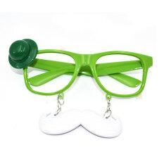 ตลกน่ารักพลาสติกแว่นตาสำหรับไอริชเทศกาลของตกแต่งงานปาร์ตี้วันเซนต์แพททริค (สีเขียว).