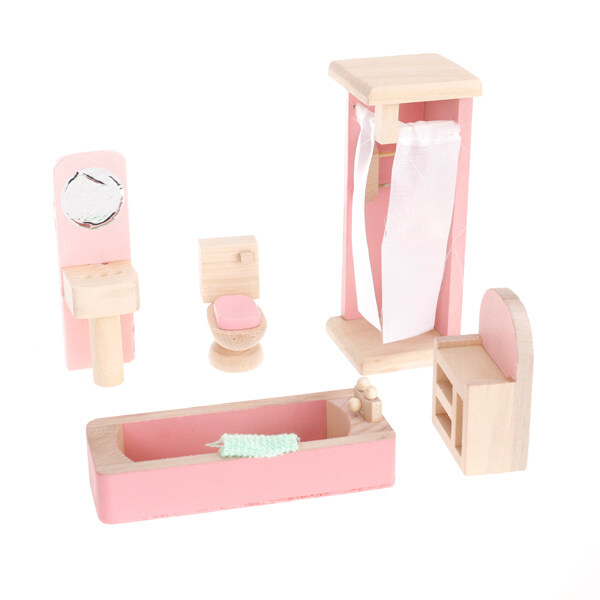 Furniture Mainan Kayu Kamar Mandi Set-Internasional