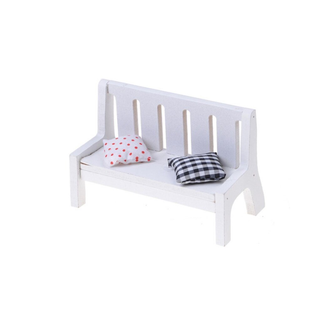 Garden Bench Dollhouse Miniature Furniture Scale Wood With Cushions - intl