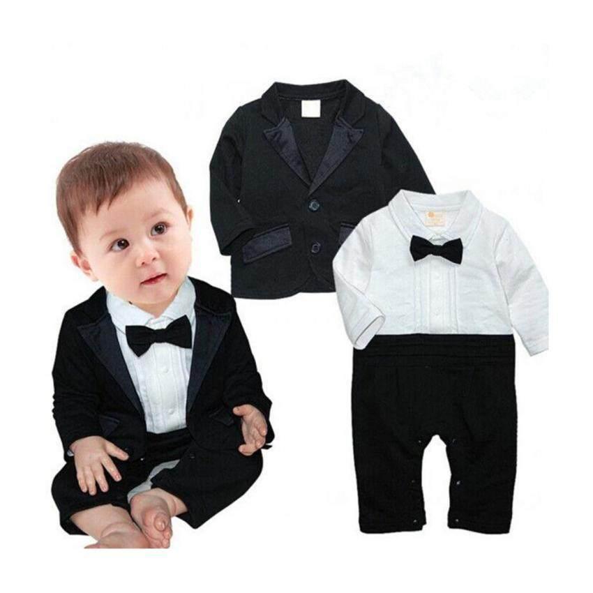 d4e29af144d 2Pcs Baby Toddler Boy Kids Party Clothes Set Blazer Coat +Romper Bodysuit  Jumpsuit (Black White