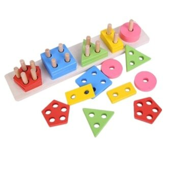 Geometric Shape Sorting Board Wooden Stacking With 5 Columnsbuilding Blocks Educational Toy For Baby Kids Children