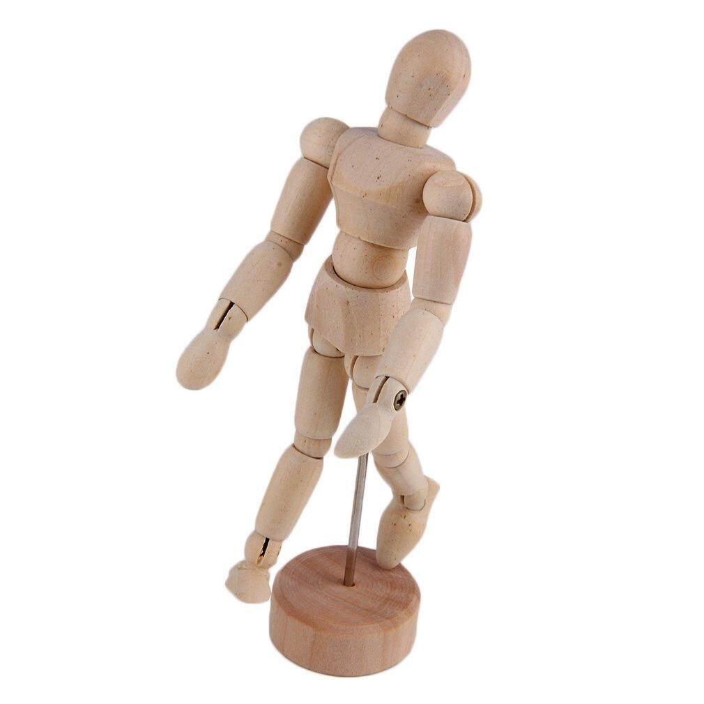 Hadiah 4.5 ''/5.5'' Gambar Model Manusia Kayu Pria Cebol Bersendi Manekin