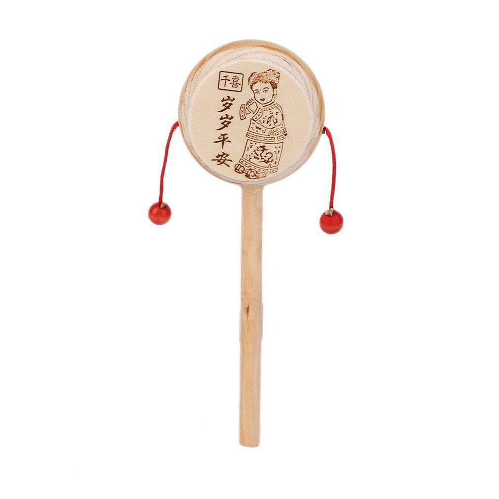 Hadiah Bayi Anak-anak Anak Kayu Rattle Drum Instrumen Musik Anak Mainan Cina Gaya Kayu