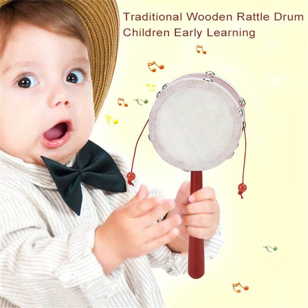 Hadiah Kayu Tradisional Rattle Drum Anak Hadiah Ly Lgift Ning 8 Cm untuk Hadiah Merah-Internasional