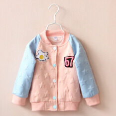 Girls Cotton Cardigan Print Lettrt Flower Coat Five Stars Buckle Coats 2016 New Arrival Autumn Children Kids Fashion Baby Coat Orange By Kids Fashion.