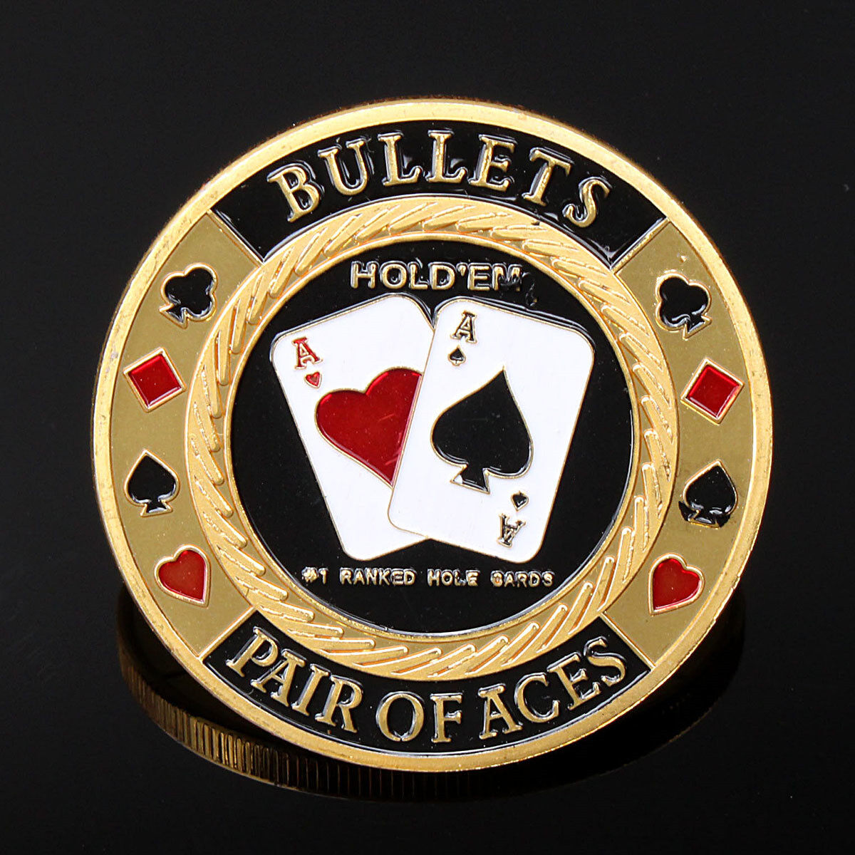 Hình ảnh Gold Pair Of ACES Poker Guard Card Protector Coin Chip Gold Plated W Case - intl