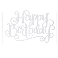 Jettingbuy Gold Silver Cake Topper Happy Birthday Party Supplies Decorations