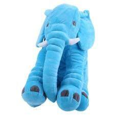 Anak-anak boneka hewan bantal bayi tidur bantal lembut mainan lucu gajah katun biru