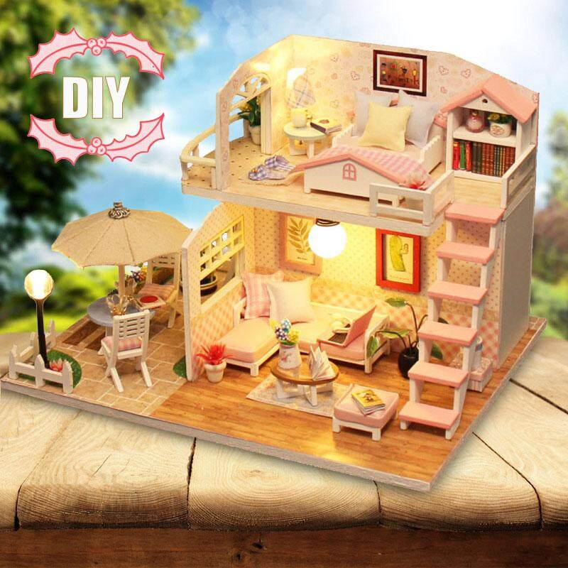 Handcraft DIY Doll House Time Cafe Toy Wooden Miniature Furniture LED Light Gift - intl