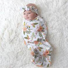 Hang-Qiao Cute Newborn Baby Blanket Floral Print Swaddle Sleeping Bag + Hairband Sleepsack Stroller Wrap Outwear (multicolor) By Hangqiao.