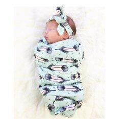 Hang-Qiao Cute Newborn Baby Blanket Swaddle Sleeping Bag + Hairband Sleepsack Stroller Wrap Outwear (green) By Hangqiao.