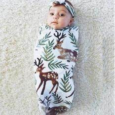 Hang-Qiao Cute Newborn Baby Blanket Swaddle Sleeping Bag + Hairband Sleepsack Stroller Wrap Outwear (green + Brown) By Hangqiao.