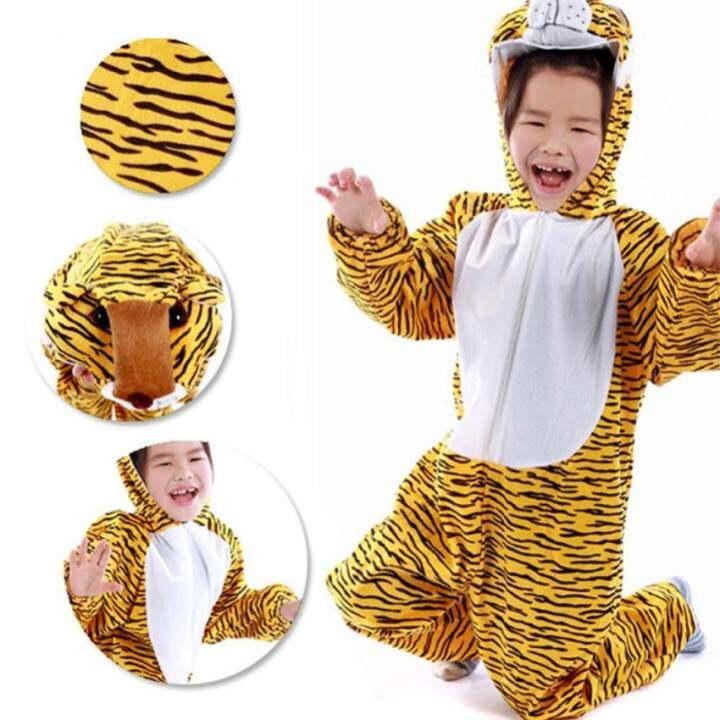 HDL Cute Cartoon Children Kids Costume Cosplay Animals Performance Halloween Jumpsuit For Boy Girl ( Tiger , Size: Xl )