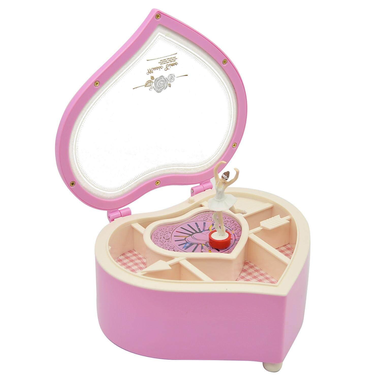 Berbentuk Hati Menari Ballerina Kotak Musik Kotak Perhiasan Musik Kotak Perempuan Anak-anak Hadiah Ulang