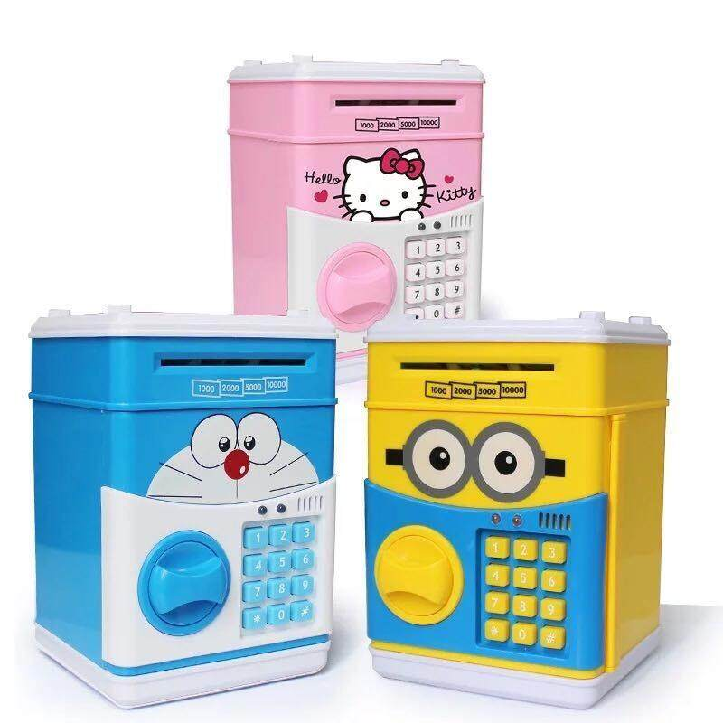 Pikachu Piggy Bank Deposit Box for Coin & Automatic Notes Slot with Sound & Password Input