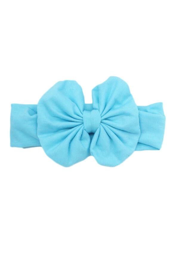 Hequ Girls Kids Baby Big Bow Hairband Headband Stretch Turban Knot Head Wrap (Blue)