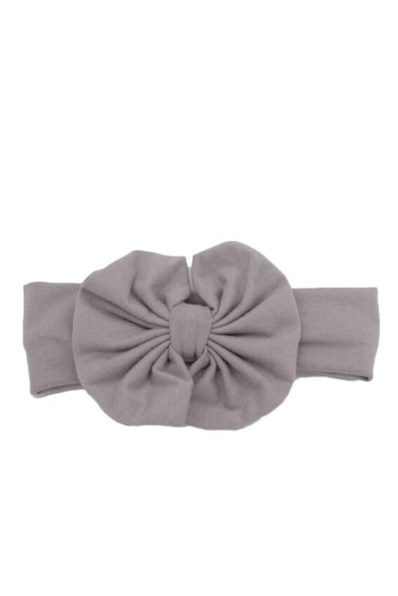 Hequ Girls Kids Baby Big Bow Hairband Headband Stretch Turban Knot Head Wrap (Grey)
