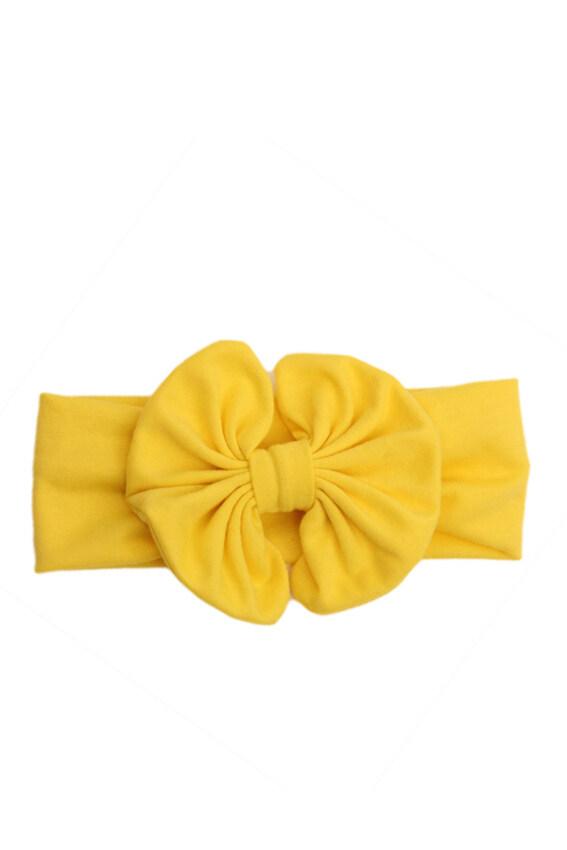 Hequ Girls Kids Baby Big Bow Hairband Headband Stretch Turban Knot Head Wrap (Yellow)