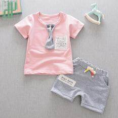 d0bb9f80d HH Baby boy clothing set gentleman suit Necktie stripe baby outfit Summer  Style Short Sleeve Cotton