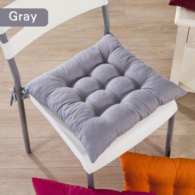 High quality 11 Colors Solid Cotton Seat Pads Chair Cushion Mat With Cord 40*40CM For Patio Home Car Sofa Office Tatami - Grey - intl