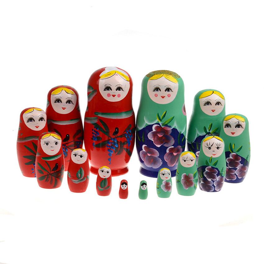 HKS 7 Pcs Boneka Set 17 Cm Kayu Bersarang Rusia Babushka Matryoshka Tangan Cat-Internasional