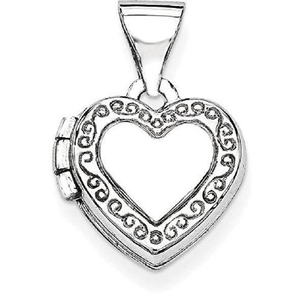 Es Karat 14 K Putih Bentuk Jantung Emas Menggulir Liontin dengan Foto Pesona Kalung Rantai dengan Liontin Yang Memegang Gambar Hadiah Perhiasan Bagus Hari Valentine Set untuk Wanita Jantung -Intl