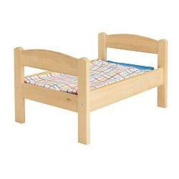 Ikeas Duktig Doll Tempat Tidur dengan Set Bedlinen, Pinus, Warna-warni-Internasional