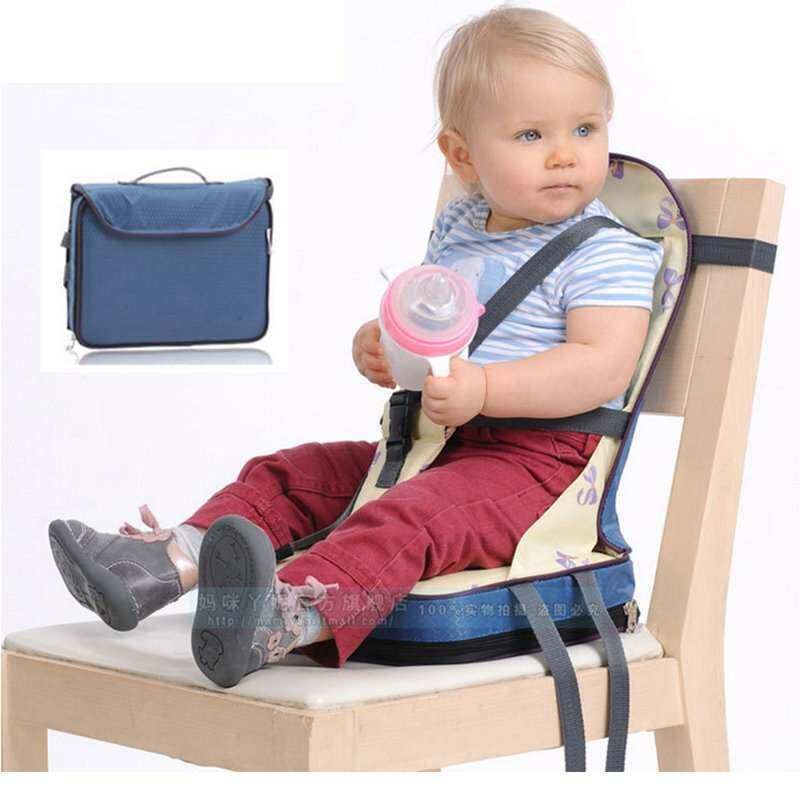 Infant Portable Baby Seat Chair For Feeding Portable Babies Toddler Infant Color Blue Booster Seat Chair Sky Bag Dining Harness