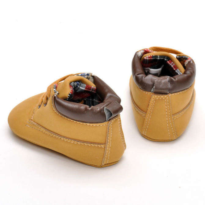 Infant Toddler Boy Baby Crib Boots Newborn Slip-On Soft Sole Shoes Brown Warm -