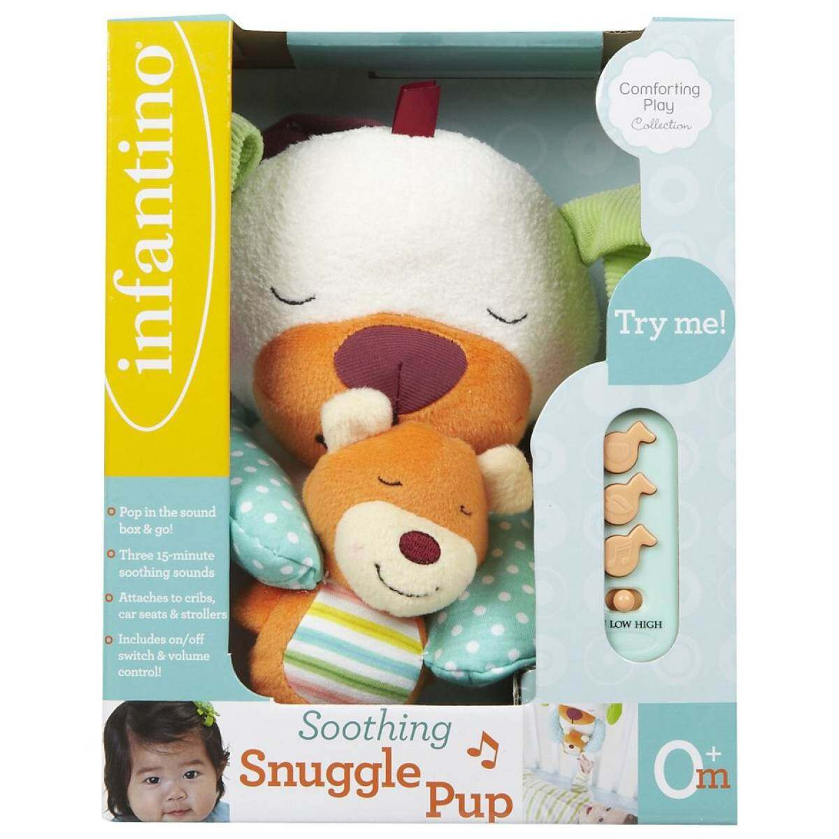 Infantino Baby Soothing Good Night Music Play Snuggle Pup Stroller Cribs Car Seat Toy Easy Washable